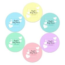 X 24 PERSONALISED WHITE HEARTS BABY SHOWER STICKERS