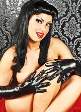 Halblange Damen Abendhandschuhe Handschuhe Wetlook Kunstleder OVP