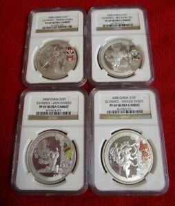 2008 CHINA OLYMPIC SET .999 4 SILVER ALL NGC PF PR 69 asian chinese lot gift