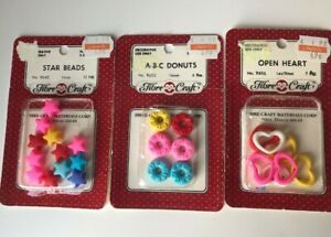 Retro Fibre Craft ABC Donuts, Star Beads, Open Hearts NOS Neon Sewing Buttons