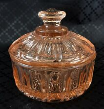 Art Deco Glass  Box Lidded Trinket Pink Vanity Powder Pot