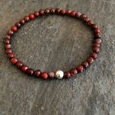 RED JASPER STRETCH BEAD BRACELET STERLING SILVER SMALL BEADED CHAKRA YOGA GIFT