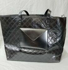 Bath and Body Works Tote Bag Shiny Silver Gray 2015 VIP Quilted Zippered NWT