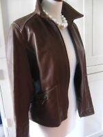 Ladies M&S brown real leather JACKET COAT UK 12 biker retro smart white tailored