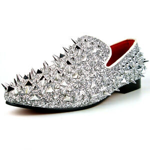 FI-7239 Silver Glitter Silver Spikes Slip on Loafer Fiesso by Aurelio Garcia