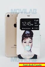 Funda tapa libro gel con soporte y ventana Iphone 7 4.7 ´ dibujos Audrey Hepburn