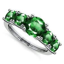 Real Eternity Band Genuine 2.0 Ct Green Emerald Gemstone Ring 14K White Gold