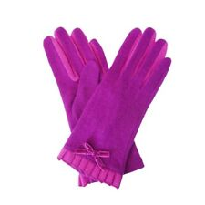 Ladies Wool Gloves PURPLE with Contrasting Pink Pleats and Bow