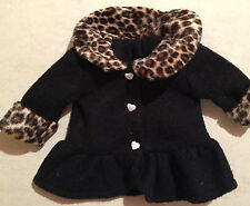 """Fancy Black Fleece Cheetah trim-White Heart Button front 15"""" doll-preowned cond."""