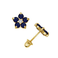 Blue Sapphire Flower Shape Cluster Stud Earrings 14K Yellow Gold Screw Back