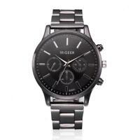 Élégant-montre-Homme-Cadran Noir-Or-Inox-Acier-Date-Quartz-Montre-Luxe