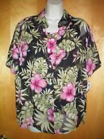 NWT NEW womens size M L black pink green floral s/s sheer blouse shirt tank top