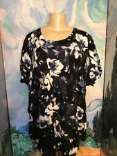 Jessica London Plus 3X New Blue Floral Crew Neckline Short Sleeve Tunic Sweater