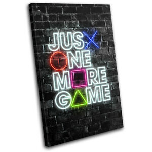 Playstation Neon Gamer Urban Gaming SINGLE CANVAS WALL ART Picture Print
