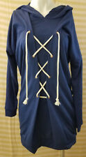 NWT Women's The Vanity Room Lace Up Hooded Sweater Dress Blue Size XS NWT
