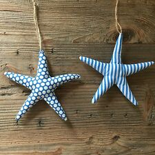 2 Fabric Starfish Nautical Stripes Spots Blue White Gisela Graham Bathroom Decor