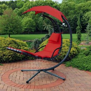 Sunnydaze Floating Chaise Lounge Hammock Chair with Umbrella and Cushion - Red