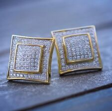 Mens Square Shape Stud Screw Back Earrings 2Pc Large Gold Fully Iced Cz Hip Hop