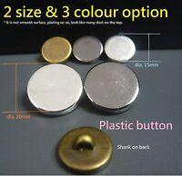 10/50/100 Plain Flat Plastic Shank Blazer Buttons Silver/Antique Brass/Gun Metal