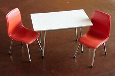 Design Miniatur Tisch mit 2 Stühlen orange 50er Jahre Möbelmodelle