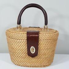 VTG Basket Bag Raffia Straw Leather Handle Purse VINTAGE TOTE