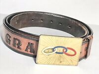 Grand Patriarch Leather Belt FLT Odd Fellows Vintage Belt Buckle