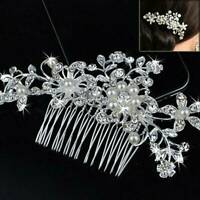 Flower Wedding Bridal Hair accessories Comb Clips piece Crystal Diamante Pearls