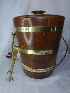 Vermillion Maple Vintage Ice Bucket Real Maple Wood w/Tongs