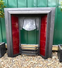 More details for a beautiful rare antique tiled cast iron fireplace insert