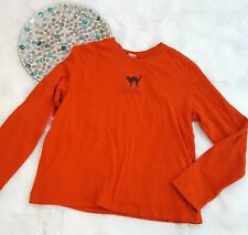 Target Womens Top Size XXL Orange Trick or Treat Black Cat Long Sleeve Tee 890