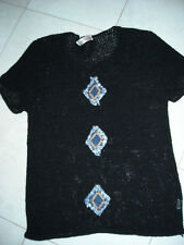 Cantarana size 12 Blue knitted  wool top, short sleeved