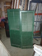 """PR victorian louvered exterior house window SHUTTERS GREEN paint 57 & 59 x 18""""w"""