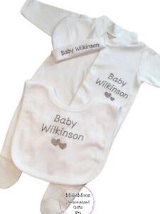 Personalised Baby Sleepsuit Babygrow Bib Hat Unisex New Baby Shower Gift Set
