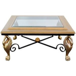 Incredible French Empire Gilded Brass & Steel Square Coffee Table C1960s