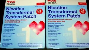 CVS Nicotine Transdermal System 21 mg STEP 1•  14 PATCHES . EXP 06/2021