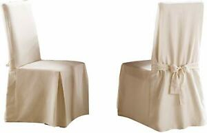 Sure Fit long Dining Chair slipcover SAIL CLOTH color: NATURAL  NEW