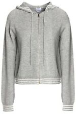 Madeleine Thompson Grey Wool and Cashmere Blend Hooded Zipped Jumper. Large