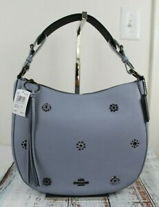 NWT COACH Sutton Leather Hobo With Scattered Rivets Mist 69507