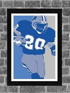 Detroit Lions Barry Sanders Portrait Sports Print Art 11x17