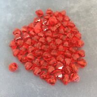 100 Red Bicone Beads 8mm Acrylic Faceted Jewellery Making Craft Bead