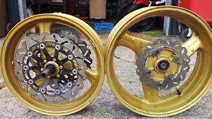 1998-2001 Honda CB600 Hornet 600 Pair Front & Rear Gold Wheels (Pair) MBZ 19S