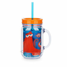 Disney Store Finding Dory Nemo Hank Jelly Jar Cup Glass w/ Straw Large 16oz NEW