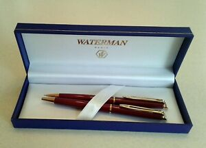 Waterman Paris Red Ballpoint Pen and Pencil Set open box never used.