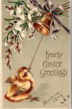 1910s Easter Postcard Chick Ringing Bell Gold Embossed Hearty Carte Postale