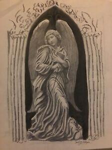"""Vintage Josef M Kozak Original """"GUARDIAN ANGEL"""" Portrait DRAWING Signed Unframed"""