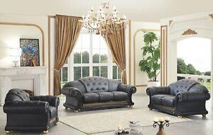 Apolo Sofa and Loveseat Living Room Set in Black 100% Genuine Italian Leather