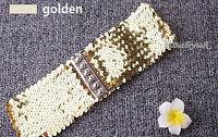 Ladies Womens Fashion Sequins Elastic Stretch Shiny Waist Band Belt - 3 Colours