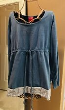 *Pre-Owned* NEW RECRUIT MATERNITY Sz L Long Sleeve Or 3/4 Sleeve Tunic Top Blue