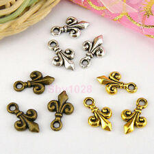 25Pcs Tibetan Silver,Antiqued Gold,Bronze FLEUR-DE-LIS Charms Pendants M1542