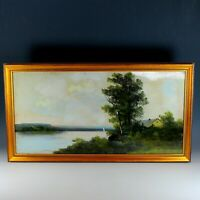 Hudson River School Pastel Painting of a Panoramic View Signed